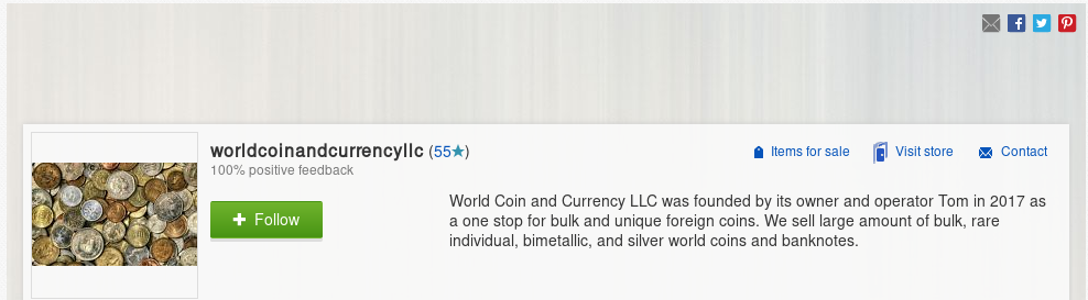 Ebay Store   World Coin and Currency LLC